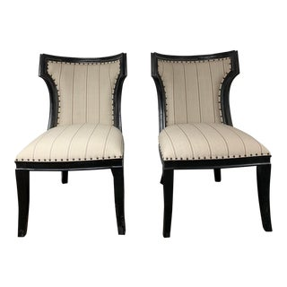 Classic Home Black and Beige Striped Side Chair For Sale