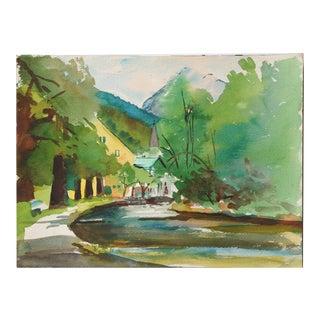 Original Vintage River Landscape Watercolor For Sale