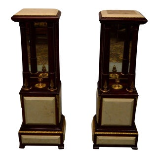 French Empire Style Marble Pedestal Stands Columns - a Pair