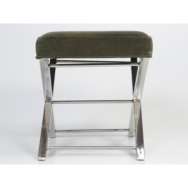 "Modern chrome stool, with a Classic chrome ""X"" style frame in original condition. Light scratches and scuffs on the..."