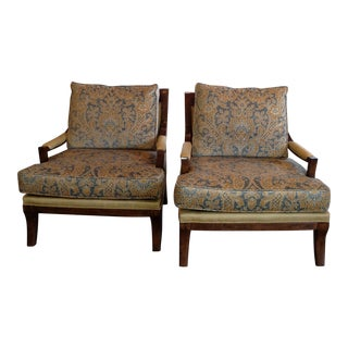 Silk Upholstered Occasional Armchairs - A Pair