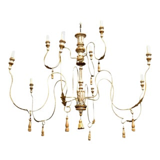 Two-Tier Painted and Parcel Gilt French Chandelier With Nine Lights For Sale