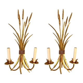 Italian Midcentury Gilt Sheaf of Wheat Motif Two-Light Sconces - a Pair