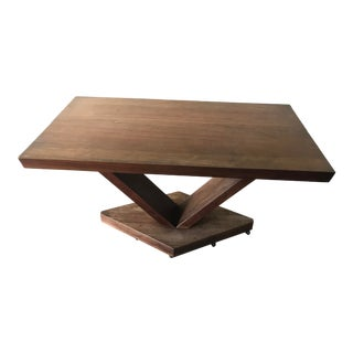Mid Century Solid Walnut Pedestal Dining Table For Sale