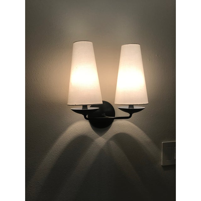 Contemporary Aerin Fontaine Double Sconces With Shades - a Pair For Sale - Image 3 of 12