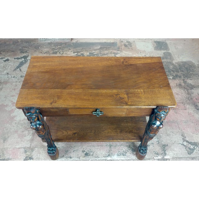 Brown Antique Side table w/two carved Nude Female Figures For Sale - Image 8 of 12