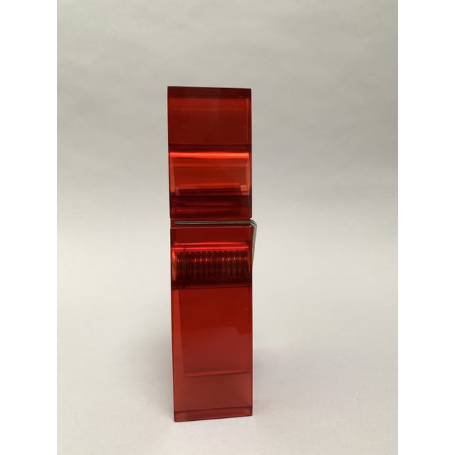 Metal Oversized Red Lucite Clothespin Paperweight or Paper Holder For Sale - Image 7 of 13