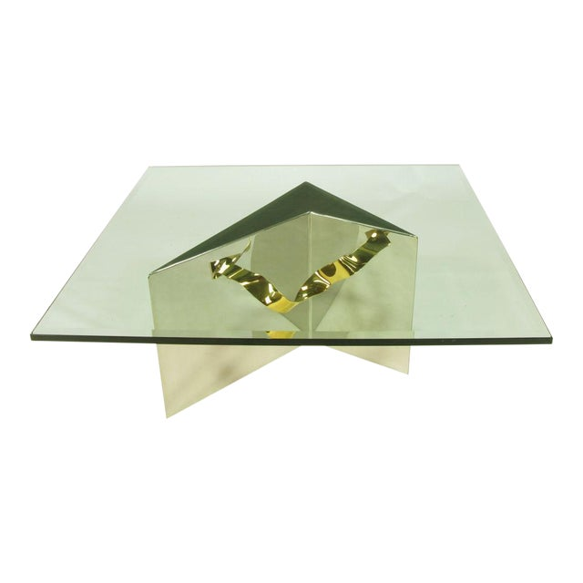 Custom Artisan Chrome, Brass, And Glass Coffee Table - Image 1 of 10