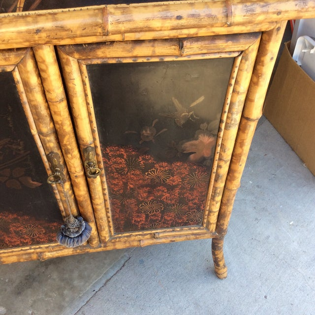 Antique Bamboo Cabinet For Sale - Image 9 of 11