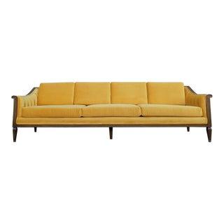 Vintage Hollywood Regency Yellow Gold Velvet Tufted Sofa For Sale