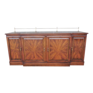 "UNION NATIONAL Chippendale Style Cherry Sideboard Buffet with Brass Gallery 74""w"