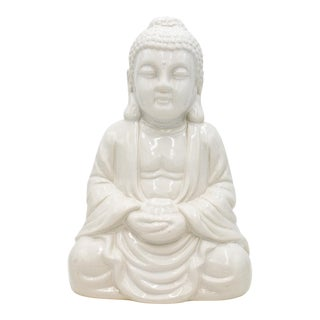 Large Vintage White Ceramic Seated Buddha Statue For Sale