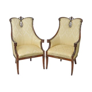 Regency Style 1940s Vintage Mahogany Prince of Wales Plume Back Pair of Fireside Host Chairs