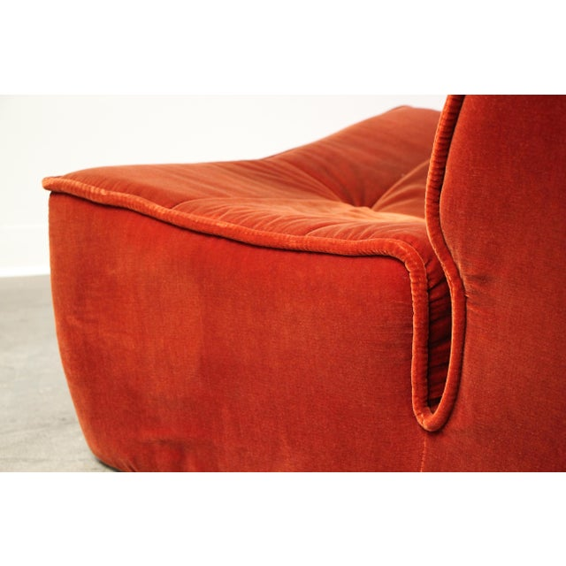 Red 1970s French Modular Mohair Sofa For Sale - Image 8 of 13