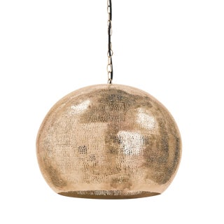 Regina Andrew Modern Brass Finished Pierced Sphere Pendant Light For Sale