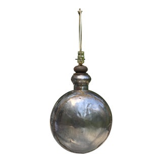 Rustic Metal Round Flask Shaped Lamp For Sale
