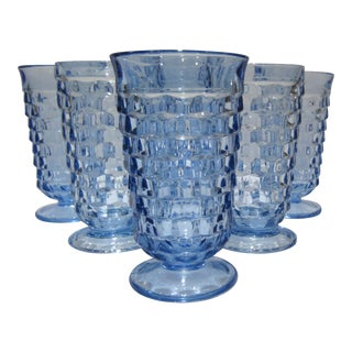 Vintage Blue Footed Tumblers - Set of 6 For Sale