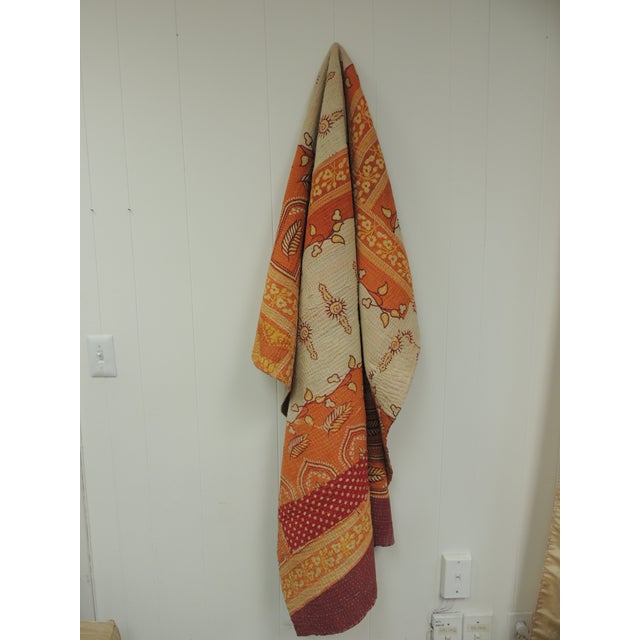 Yellow Vintage Orange and Red Hand Quilted Indian Throw For Sale - Image 8 of 8