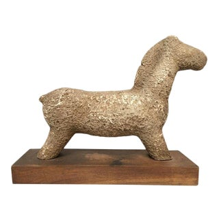 1960s Vintage Rustic Modern Studio Pottery Horse Sculpture For Sale