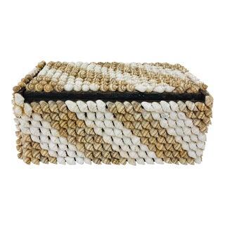 Vintage Handmade Seashell Covered Folk Art Box For Sale