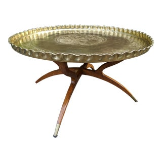 """Middle Eastern Moroccan 36"""" Round Etched Brass Low Coffee/Tea Tray Table For Sale"""