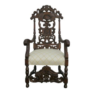 Early 1900s Heavy Carved Tall Large Renaissance Revival Throne Arm Chair For Sale