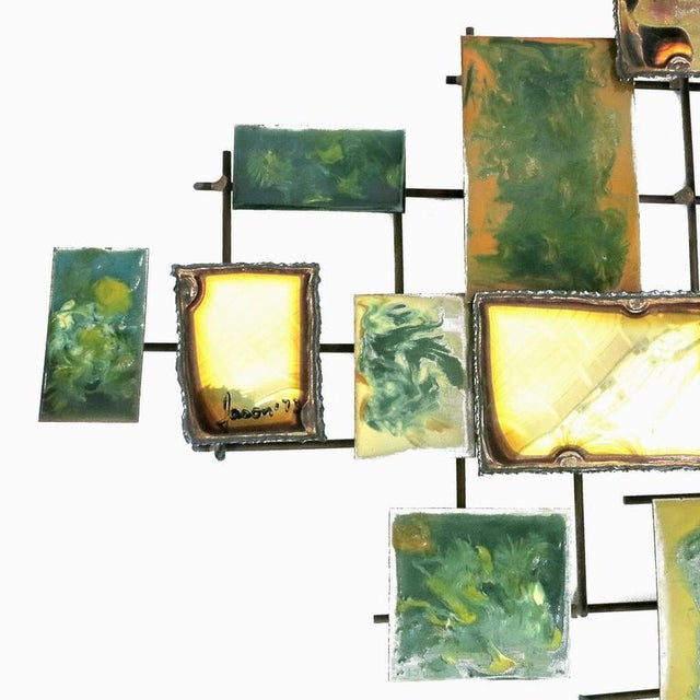 Mario Jason Brutalist Enameled Brass & Bronze Wall Sculpture - Image 5 of 7
