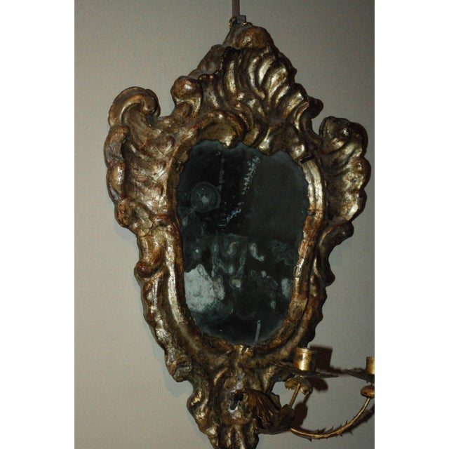 Pair of Venetian Gilted Mirrored Sconces For Sale In Los Angeles - Image 6 of 7