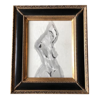 Vintage Original Abstract Female Nude Watercolor Painting Ornate Frame For Sale