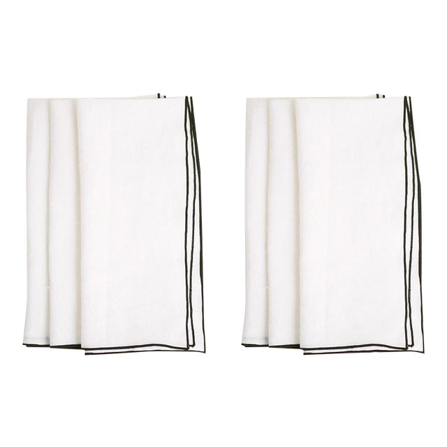 White with Black Trim Linen Napkin - Set of 6 For Sale