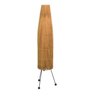 1950s Mid-Century Modern Tony Paul for Raymor Wicker Fish Trap Floor Lamp