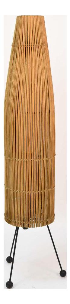 1950s Mid Century Modern Tony Paul For Raymor Wicker Fish Trap Floor Lamp