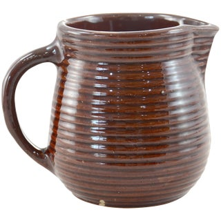 Rustic Farmhouse Ribbed Stoneware Jug For Sale