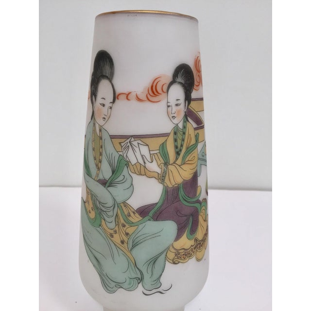 Japanese Opaline White Glass Vase Hand Painted With Geishas For Sale In Los Angeles - Image 6 of 11