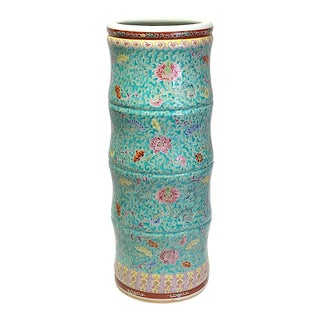 Vintage Chinese Floral Turquoise Famille Rose 'Bamboo' Form Porcelain Umbrella Stand For Sale