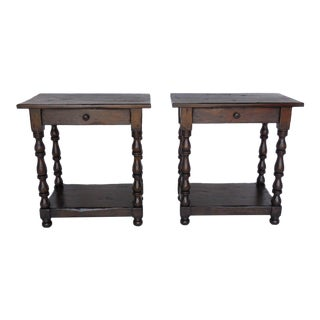 Pair of Custom Walnut Side Tables/Nightstands with Turned Legs, Drawer and Shelf For Sale
