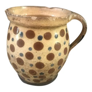 19th Century French Antique Jaspe Country Pottery Pitcher For Sale