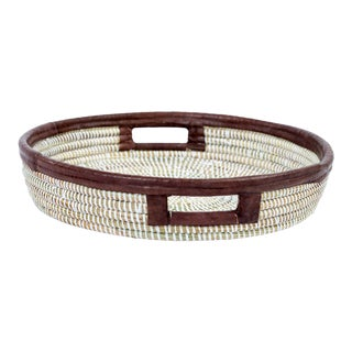 Artisan Made Woven White and Leather Accent Tray For Sale