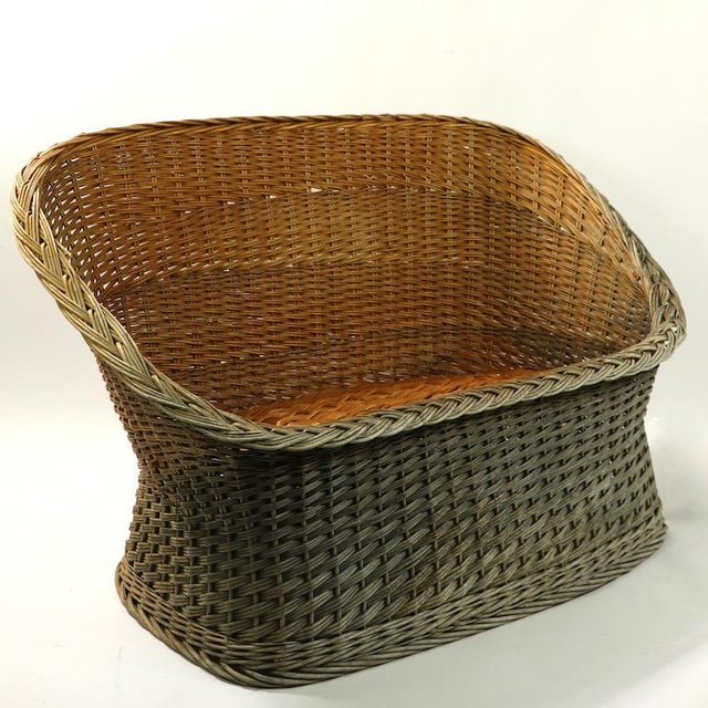 Mod Bar Harbor Style Woven Wicker Settee For Sale - Image 13 of 13