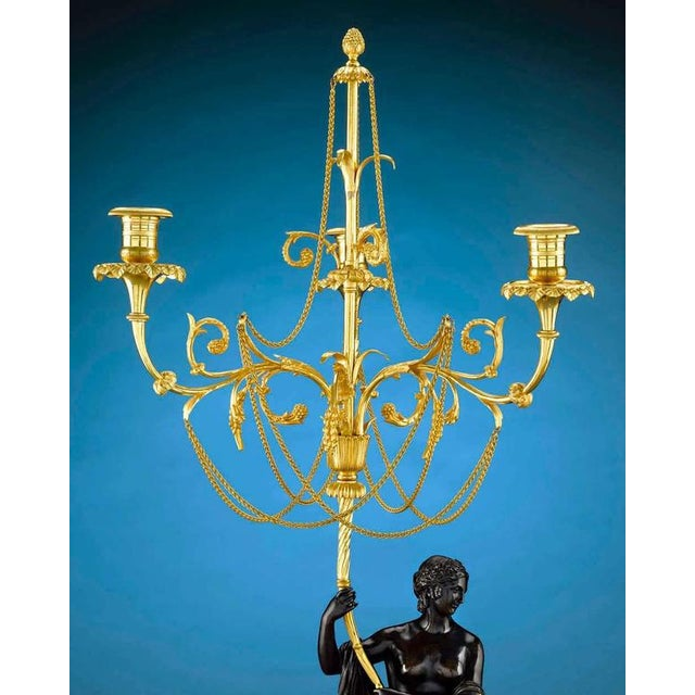 Mid 18th Century 18th Century Russian Figural Bronze Candelabra - A Pair For Sale - Image 5 of 8