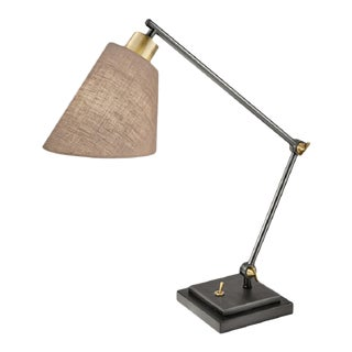 Desk Lamp in Black Bronze and Polished Brass For Sale