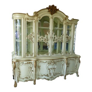Vintage Rococo French Provincial White Curio China Cabinet Hutch Italian Style For Sale