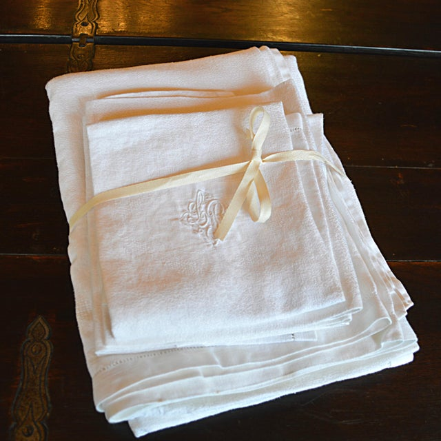 Monogrammed Antique French Table Linens - Set of 7 - Image 3 of 7