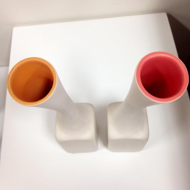 White Cor Unum Vases - A Pair - Image 4 of 6