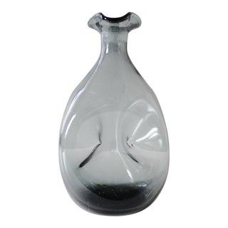 Vintage Blenko Glass Decanter Bottle Charcoal Gray Mid Century #49
