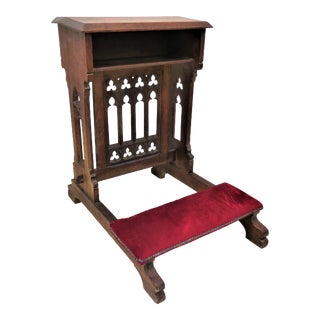 Antique French Gothic Revival Priest Prayer Kneeler For Sale