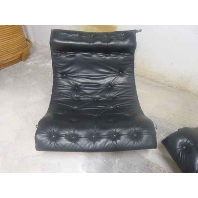 Stylish quality 60's architectural aluminum and leather scoop chair possibly Italian sold as found in original condition....