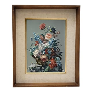 Louis Emiel Chappel (1888-1963) Floral Still Life Oil Painting C.1950s For Sale