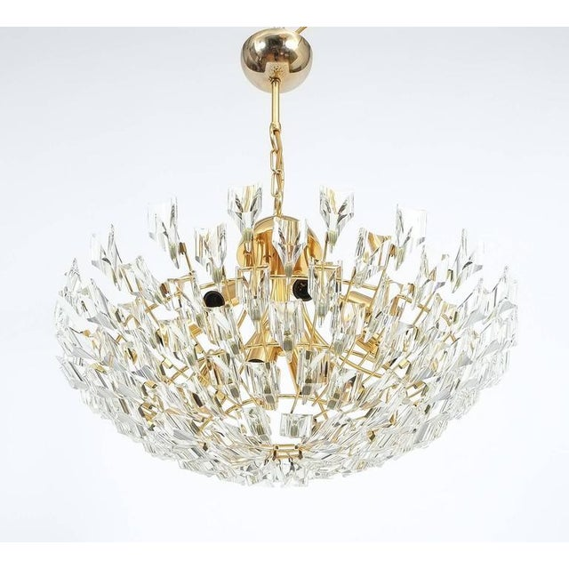 1970s Large Glass and Brass Chandelier by Stilkrone Italy , circa 1970 For Sale - Image 5 of 9