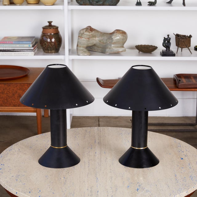 Contemporary Pair of Ron Rezek Table Lamps For Sale - Image 3 of 11
